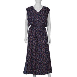 Designer Inspired Floral Pattern Screen Printed One Size Smocked Waist Dress (Size 131x140 Cm) - Blu