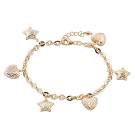 Royal Bali Collection 9K Yellow Gold Oval Link Bracelet (Size 7 with 1 inch Extender) with Diamond Cut Star and Heart Charm, Gold wt 5.66 Gms.