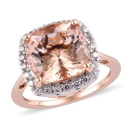 9K Rose Gold AA Marropino Morganite (Cush 11x11 mm), Natural Cambodian Zircon Ring 5.30 Ct.