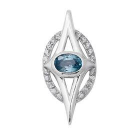 Ratanakiri Blue Zircon and Natural Cambodian Zircon Pendant  in Rhodium Overlay Sterling Silver 1.79