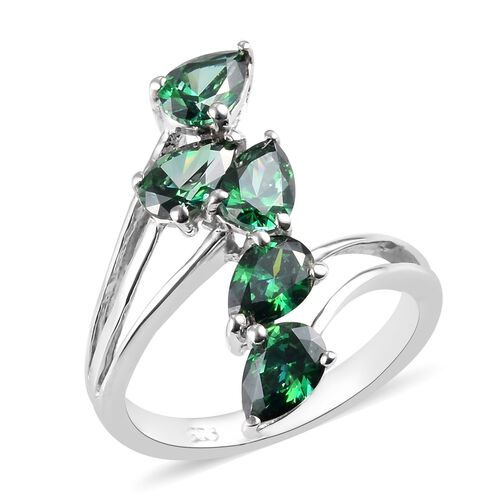 J Francis Made with Green SWAROVSKI ZIRCONIA 5 Stone Bypass Ring in Platinum Plated Sterling Silver