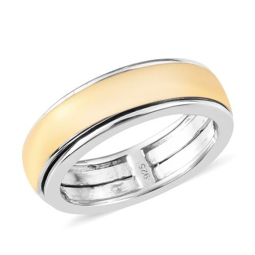 Band Ring in Yellow Gold and Platinum Overlay Sterling Silver