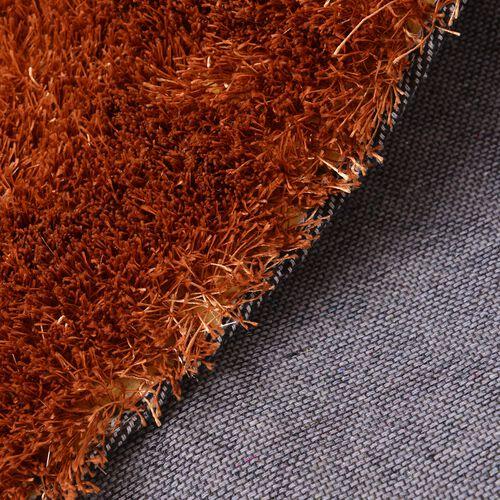 Super-Plush Extra-Long Pile Brown Colour Lounge Carpet (Size 200x140 Cm)