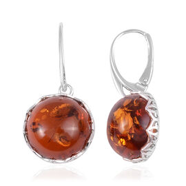 Amber Solitaire Drop Earrings in Rhodium Plated Sterling Silver