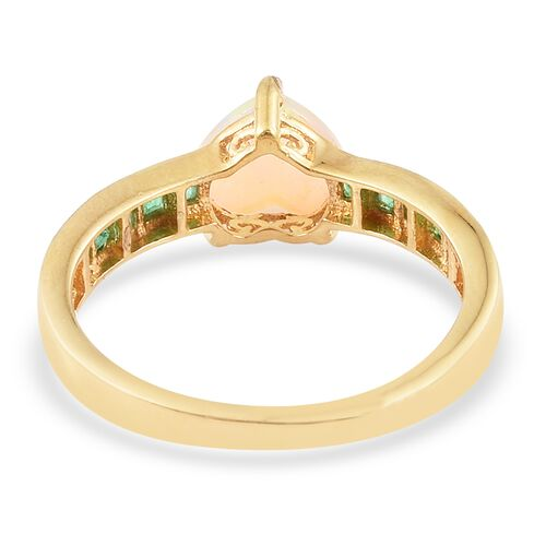 1.50 Carat Ethiopian Welo Opal and Kagem Zambian Emerald Heart Ring in Gold Plated Silver