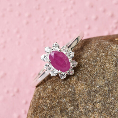 Ruby and Natural Cambodian Zircon Halo Ring in Sterling Silver