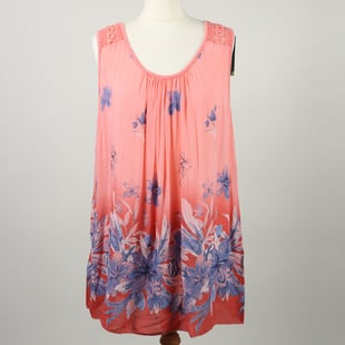 SUGARCRISP Printed Vest Top with Border Detail and Lace Shoulder in Coral (One Size; 60x75cm) CB - 2