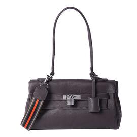 100% Genuine Leather Tote Bag (30x19x8cm) with Stripe Pattern Shoulder Strap in Black