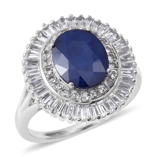 8.16 Ct Kanchanaburi Blue Sapphire and White Topaz Halo Ring in Rhodium Plated Sterling Silver