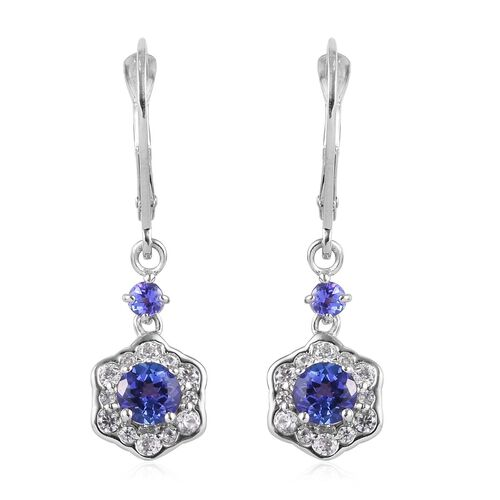9K White Gold Tanzanite and Natural Cambodian Zircon Floral Lever Back Earrings 1.50 Ct.