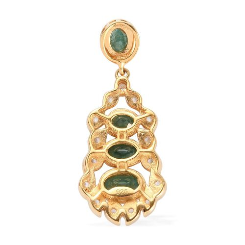 Grandidierite and Natrural Cambodian Zircon Pendant in 14K Gold Overlay Sterling Silver 1.05  Ct.