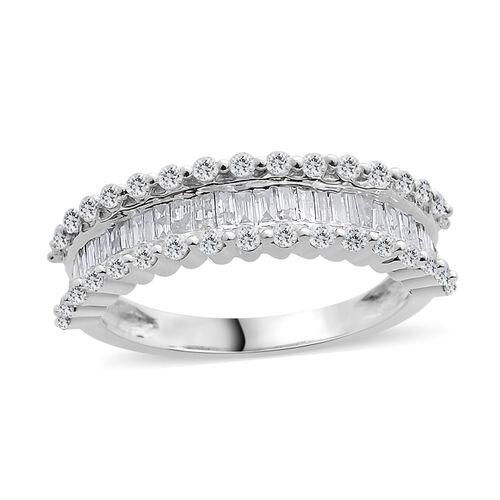 Designer Inspired- 9K White Gold SGL Certified Diamond (Rnd and Bgt) (I3/G-H) Ring 1.000 Ct.
