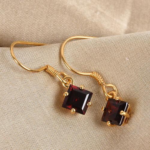 Mozambique Garnet Hook Earrings in 14K Gold Overlay Sterling Silver 3.00 Ct.