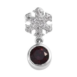 Mozambique Garnet (Rnd), Natural Cambodian Zircon Snowflake Pendant in Platinum Overlay Sterling Sil