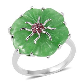 Carved Green Jade, Russian Diopside Floral Ring (Size N) in Rhodium Overlay Sterling Silver 11.350 Ct.