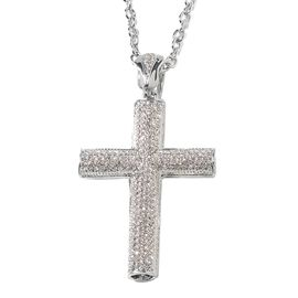 White Austrian Crystal (Rnd) Cross Pendant With Chain in Silver Plated