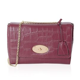 Croc Embossed 100% Genuine Leather Red Croc Embossed Cross Body Bag (Size 27x19x9 Cm)