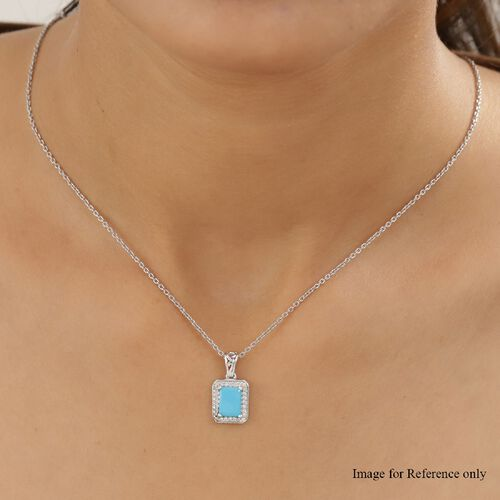 Arizona Sleeping Beauty Turquoise and Natural Cambodian Zircon Halo Pendant in Platinum Overlay Sterling Silver 1.23 Ct.