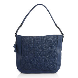 100% Super Soft New Zealand Leather Flower Quilted Navy Colour Handbag with Shoulder Strap (30x9x33