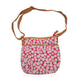 New Season - Pink and Multi Colour Flower Pattern Crossbody (Size 26x26 Cm)