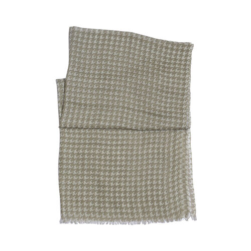 100% Merino Wool Houndstooth Pattern Green and White Colour Woven Scarf (Size 175x70 Cm)