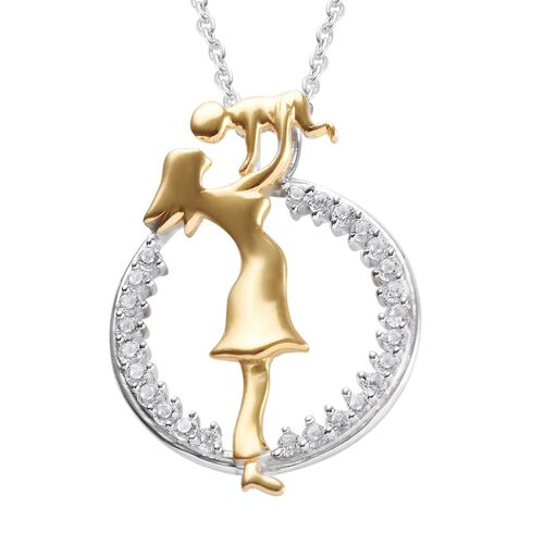 Natural Cambodian Zircon Mother Child Pendant in Platinum and Yellow Gold Plated Silver