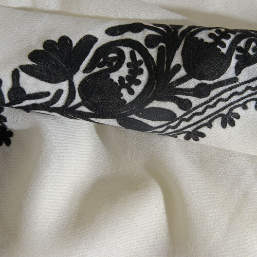 One Time Deal-100% Merino Wool Black and White Colour Floral and Paisley Embroidered Shawl with Tassels (Size 180X70 Cm)