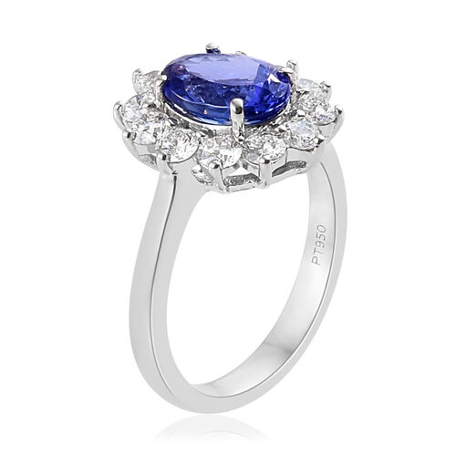 RHAPSODY 950 Platinum AAAA Tanzanite (Ovl9x7mm 1.75 Cts), Diamond (VS/E-F 1.00 Cts) Ring 2.750  Ct, Platinum wt 5.81 Gms.