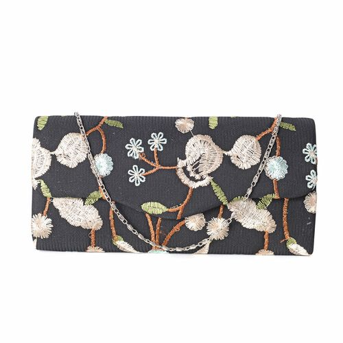 Luxury White Brocade Embroidery with Long Gold Chain Strap Clutch(Size 23x10.5x5.5 Cm)