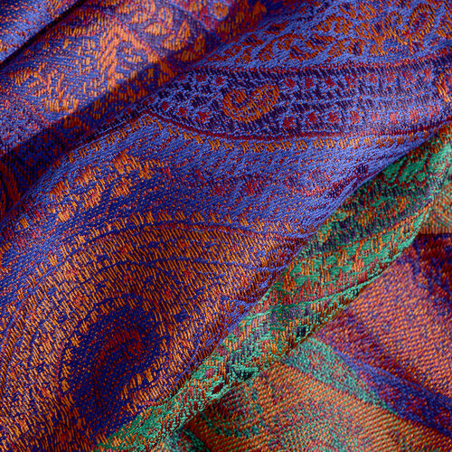 SILK MARK - 100% Superfine Silk Purple, Green and Multi Colour Reversible Jacquard Jamawar Scarf with Tassels (Size 190X70 Cm)
