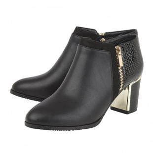 Lotus Chloe Black Zip-Up Heeled Shoe Boots with Snake Skin Pattern (Size 3)
