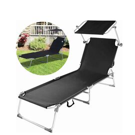 Folding Sun Lounger with Adjustable Backrest and Sun Shade Roof (Size 188x56x30 Cm) - Black