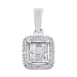 9K White Gold SGL Certified Diamond (I3/G-H) Halo Pendant 0.25 Ct.