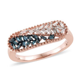 Blue and White Diamond (Bgt) Ring in Rose Gold and Platinum Overlay with Blue Plating Sterling Silve