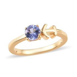 Tanzanite (0.50 Ct) 14K Gold Overlay Sterling Silver Ring  0.500  Ct.
