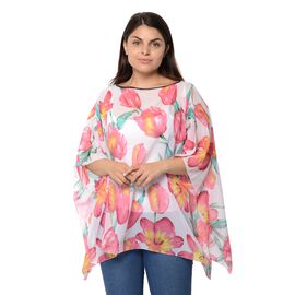 White and Pink Colour Tulip Pattern Poncho (Size 68.5x96.5 Cm)