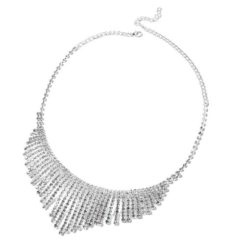 2 Piece Set - White Austrian Crystal (Rnd) Glittering Waterfall Necklace (Size 22) and Earrings in Silver Plated