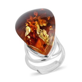 Bi Colour Baltic Amber Adjustable Solitaire Ring in Sterling Silver 6 Grams