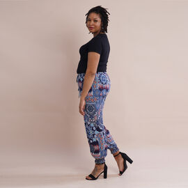 TAMSY One Size Collection Bohemian Pattern Trousers (Size:M/L,10-16) - Blue and Multi