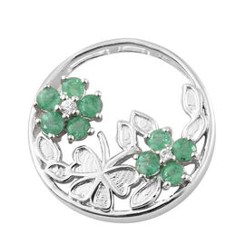 1 Carat Zambian Emerald and Cambodian Zircon Floral Circle Pendant in Sterling Silver 5.05 Grams