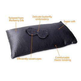 2 Piece Set - 100% Mulberry Silk Pillow Case (Size 50x75 Cm) and Eye Mask (Size 23.5x10.5 Cm) with G