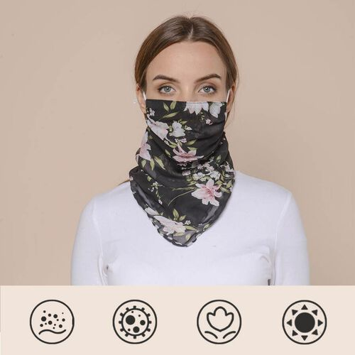 2 in 1 Flower Pattern Chiffon Soft Feel Scarf and Protective Face Covering (Size 45x45 Cm) - Black &