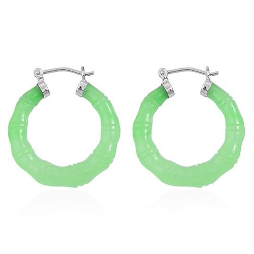 Rare Green Jade Hoop Earrings (with Clasp Lock) in Rhodium Plated Sterling Silver 42.250 Ct.