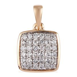9K Yellow Gold SGL Certified Diamond (I3/G-H) Cluster Pendant 0.50 Ct.