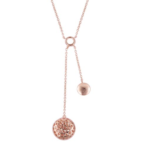 RACHEL GALLEY Rose Gold Overlay Sterling Silver Memento Disc Necklace (Size 18), Silver wt 6.88 Gms.