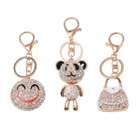 3 Piece Set- White and Magic Colour Austrian Crystal (Rnd) Purse, Teddy Bear and Smiley Key Chain in