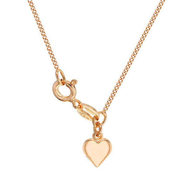 Rose Gold Overlay Sterling Silver Heart Curb Adjustable Chain (Size 18) with Spring Ring Clasp