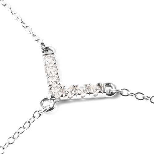 Japanese Akoya Pearl and Natural Cambodian Zircon Lariat Necklace (Size 26) in Rhodium Overlay Sterling Silver