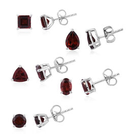 Set of 5- AA Mozambique Garnet (7.50 Ct) Earrings (with Push Back) Platinum Overlay Sterling Silver