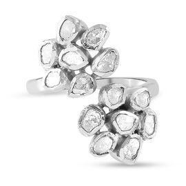 GP Italian Garden Collection - Polki Diamond and Kanchanaburi Blue Sapphire Floral Ring in Platinum